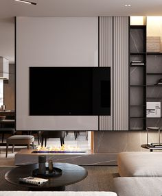 High-end apartment in new builds development. Created for a young Family which desired simple design and modern approaches with high-end technology solutions. Apartment Interior, Home Living Room, Interior Design Living Room, Living Area, Living Room Tv Unit Designs, Tv Wall Design, Behance, Wall Units, Tv Units