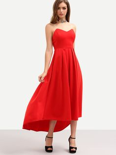 Shop Red Pleated High Low Bandeau Dress online. SheIn offers Red Pleated High Low Bandeau Dress & more to fit your fashionable needs.