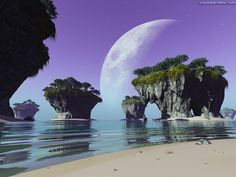 Image detail for -see alternate sky in: Eclipse at Strange Beach