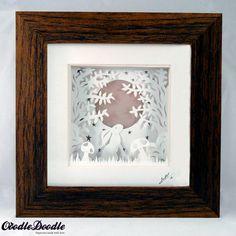 Rabbit Hare Papercut - paper cut out, wall art, paper cut, papercutting, paper cutting, papercut art, paper cut art, nursery art, hare art