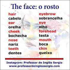 O rosto em #inglês English Tips, English Book, English Writing, English Study, Teaching English, English Vocabulary Words, Learn English Words, English Idioms, English Grammar