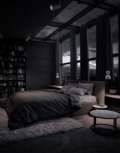 Dream House Interior, Luxury Homes Dream Houses, Dream Home Design, Modern House Design, Mansion Interior, Black Bedroom Design, Black Interior Design, Black Rooms, Dark Interiors