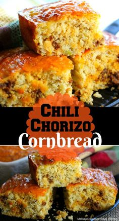 Chili Chorizo Cornbread - This green chili and chorizo infused cornbread is so moist and tender, I struggled with naming it. When you think of traditional cornbread, although delicious the texture isn't quite as soft as this cornbread Oxtail Recipes, Spicy Recipes, Chili Recipes, Gourmet Recipes, Mexican Food Recipes, Cooking Recipes, Chorizo Recipes, Easy Recipes, Healthy Recipes