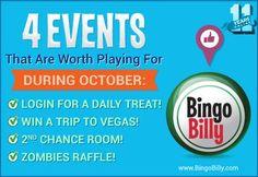 Bingobilly October promos: Win a trip to Vegas, daily login bonus Play Bingo Online, Play Online, Bingo Bonus, 2nd Chance, Win A Trip, Free Money, Slot, Competition, October