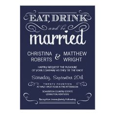 "Rustic Typography Navy Blue Wedding Invitations 4.5"" X 6.25"" Invitation Card $2.01 per card"