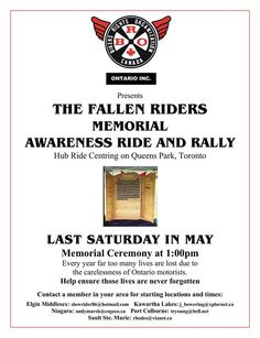 """LAST SATURDAY OF MAY YEARLY FALLEN RIDERS MEMORIAL AWARENESS RIDE & RALLY QUEENS PARK TORONTO, ONTARIO CEREMONY 1PM SUPPORTED BY B.R.O.  KEEP UPDATED FOR UPCOMING B.R.O. EVENTS """"BIKERS RIGHTS ORGANIZATION"""" https://www.facebook.com/broniagara"""