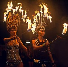 Flambeaux Fire - Fire Performers - New York City, New York Fire Crown, Fire Costume, Fire Fairy, Crown Aesthetic, Fire Festival, Costumes Around The World, Fire Dancer, Water Nymphs, Gothic