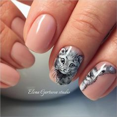 Then try one of these cutest cat nail designs. Check out the best 45 cat nail art ideas! Light Pink Nail Designs, Animal Nail Designs, Light Pink Nails, Nail Art Designs, Lion Nails, Cat Nails, Cat Nail Art, Animal Nail Art, Creative Nails