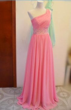 >> Click to Buy << MDBRIDAL Backless Pink Prom Dress with Beading A Line Chiffon One Shoulder Evening Dresses and Gowns 2016 #Affiliate