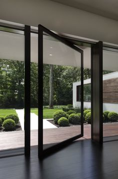 A pivoting steel door offers easy access outside.