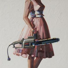 "*I* run my chainsaw in a pink frock, don't you? (""Steel Magnolias"" by Kelly Reemsten) Non Plus Ultra, Pretty Outfits, Pretty Clothes, Artsy Fartsy, Contemporary Art, Modern Art, Illustration Art, Cool Stuff, Funny Stuff"