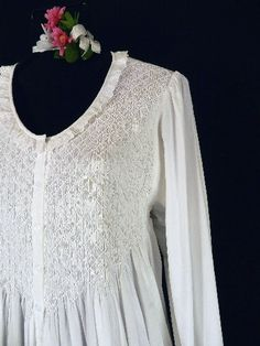 1044dd20d1 Smocked Gown-longsleeve long sleeve white cotton 100% nightgown gown