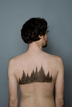 50 Insanely Gorgeous Nature Tattoos (wrapped around calf below mountains) with outline of seattle in bottom of trees...