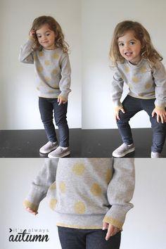 DIY gold polka dot sweatshirt tutorial - It's Always Autumn