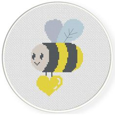 Charts Club Members Only: Cute Bee With Heart Cross Stitch Pattern