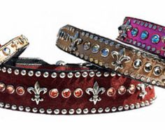 1/2 wide stunning collection of collars and leads with Swarovski Crystal and sophisticated Fleur de lis ornaments. (No Nail heads on Tiny and 1/2