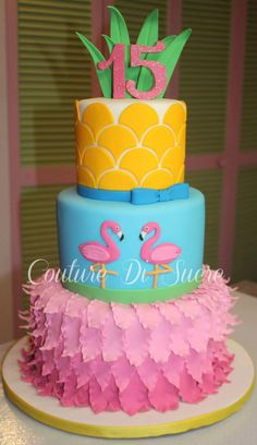 Tropical Flamingo Birthday Cake
