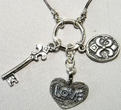 Sterling silver necklace | Charms necklace | Key necklace