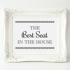 This funny printable bathroom art features the phrase THE Best Seat IN THE HOUSE in a combination of handwritten and black engraving fonts, and is accented with a circle black border. Just download, print and display. Add to your bathroom decor within minutes!  HIGH RESOLUTION FILE TYPES YOU WILL RECEIVE: ~ 4 x 6 JPG ~ 5 x 7 JPG ~ 8 x 10 JPG ~ 8 x 10 PDF : Suitable for printing on 8 1/2 x 11 or A4 paper ~ 11 x 14 JPG ** Please contact me prior to ordering if you prefer a different size. ...