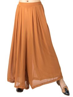 Ginger Pleated Chiffon Wide Leg Palazzo Pants