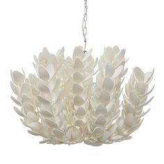 This pendant light is perfectly unique, yet versatile. The color and style could work in almost any space, yet still feels refreshed and one of a kind. Hand-cut coco shell details in petal forms finished in off-white. Comes with 9 feet of chain.
