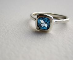 Silver Ring with Blue Topaz  Square Cushion 5 x by EveryBearJewel, $82.00