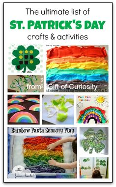 The ultimate list of #StPatricksDay crafts and activities - everything from rainbow crafts, shamrock crafts, St. Patrick's Day printables, St. Patrick's-themed sensory play, and St. Patrick's Day learning activities - Gift of Curiosity