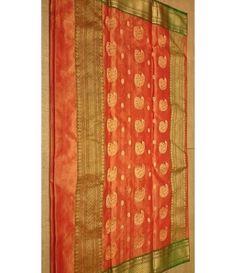 OrangeChanderi Handloom Silk Saree