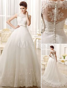 Ivory Sash Bows Lace A-Line Wedding Dress for Women