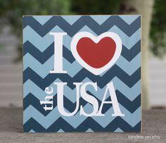Cute patriotic craft. I love the chevron!  I heart the USA, Patriotic, 4th of July board - 10x10. $24.00, via Etsy.