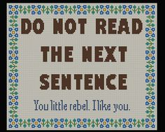 Do Not Read the Next Sentence Cross Stitch Pattern PDF Instant Download by HeritageStitch on Etsy