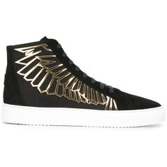 Marcelo Burlon County Of Milan wings print sneakers ($462) ❤ liked on Polyvore featuring men's fashion, men's shoes, men's sneakers, brown, mens leather lace up shoes, mens brown leather shoes, mens brown shoes, mens leather sneakers and mens leopard print shoes