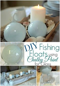 DIY Fishing Floats using Chalky Finish Paint for GLASS! So easy and would make gorgeous Christmas ornaments! by Ana Oliva Nautical Christmas, Christmas Crafts, Beach Christmas Trees, Coastal Christmas Decor, Coastal Decor, Christmas Bulbs, Beach Crafts, Fun Crafts, Nature Crafts