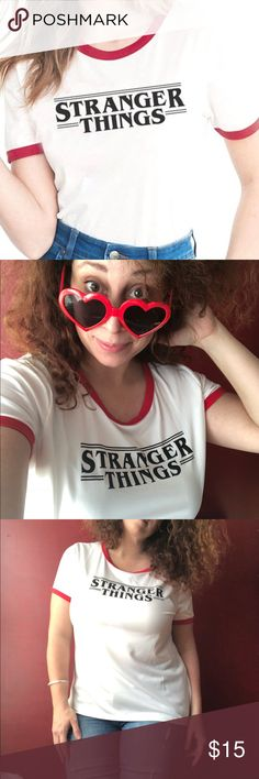 """Stranger Things Tee Shirts ringer retro New PRICE FIRM unless bundled! Women's cut! Brand new stretchy women's tees! Comfy flattering cool! Juniors fit, runs pretty true to size.  I'm a 12 and wearing a XL in the pic.  Heart glasses also available in my closet!   XXL 22"""" pit to pit, 25"""" long XL 21"""" pit to pit, 24"""" long L 20"""" pit to pit, 23"""" long M 18"""" pit to pit, 23"""" long S 17"""" pit to pit, 23"""" long unbranded Tops Tees - Short Sleeve"""
