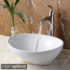 Elite 8089 Oval High Temperature Vessel Bathroom Sink and Faucet (Chrome Finish Faucet+Sink), Silver White Vessel Sink, Vessel Sink Bathroom, Glass Vessel, Bathroom Faucets, Washroom, Silver Bathroom, Lavender Bathroom, Condo Bathroom, Concrete Bathroom