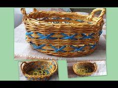 Плетение из газет Корзинка How to make Paper Basket weaving newspapers periódicos de tejer - YouTube