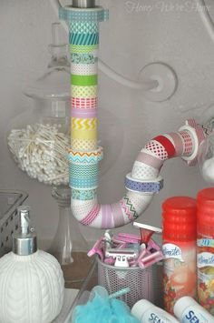 Under Sink with Washi Tape: A Total and Complete waste of time and money, but isn't it a hoot!