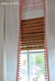 Rivta panels from ikea; sewn on Pom Pom trim