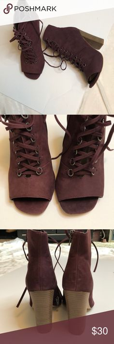 Steve Madden Ankle open toe boots Steve Madden Ankle open toe boots - maroonish 💕. Super fun to wear with shorts, jumpers, crop pants, and dresses!! They live in a special shoe box that keeps them supreme. Steve Madden Shoes Ankle Boots & Booties
