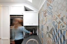 live :: middle park kitchen designed by eat.live with lift up appliance cupboard Appliance, Cupboard, Tile Floor, Kitchen Design, Kitchens, Middle, Bath, Live, Home Decor