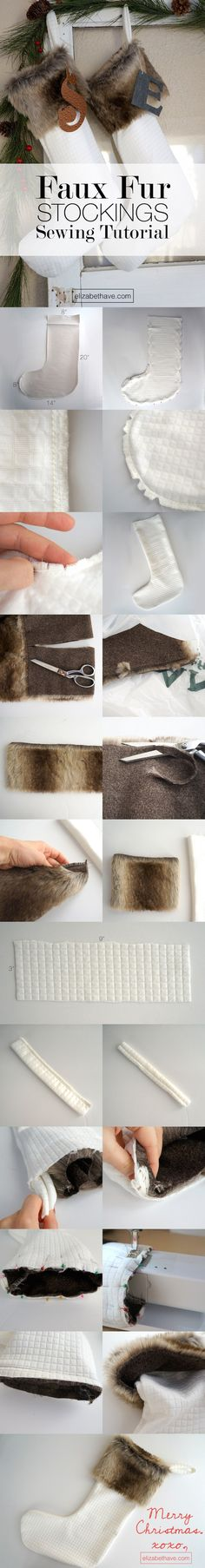 Faux Fur Stockings Tutorial | Follow this sewing tutorial and in just a few simple steps, you will have luxe faux fur stockings just like you see in Restoration Hardware or Pottery Barn, but for a fraction of the price. These Christmas stockings are a quick sew too, taking about 3 hours to make 4 stockings, enough for the whole family! Click on through to see the full tutorial. | www.elizabethave.com