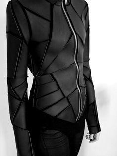 Cyberpunk black leather jacket