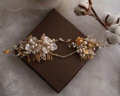 Купить Свадебный гребень в золотом цвете - золотой, свадебный гребень, гребень из страз, гребень для волос