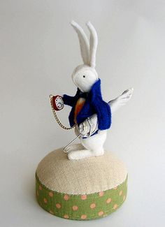 Blue Jacket Rabbit Pincushion ~  Mom would have loved this one !