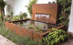 Gartengestaltung | B_I galabau Garden Features, Water Features, Small Gardens, Outdoor Gardens, Water Wall Fountain, Modern Water Feature, Modern Fountain, Garden Fountains, Wall Fountains
