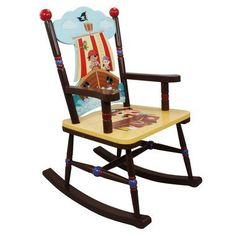 Give your little pirate a treasured place to rock, with the Pirate Rocking Chair! Hand painted and carved to perfection, this rocking chair is sure to make an unforgettable rocking experience.Features