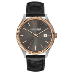 Caravelle 45B131 Men's New York Grey Dial Black Leather Strap Date Watch
