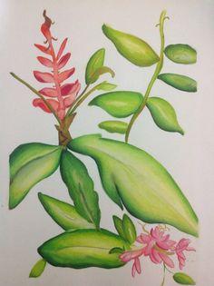 Desenho em aquarela e lápis de cor