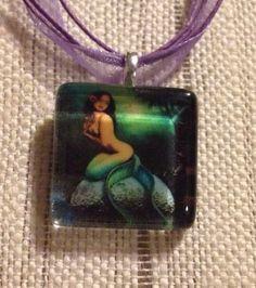 Mermaid Hawaiian Girl On Rock Glass Tile Pendant Ribbon Necklace Ocean Gift