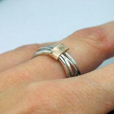 Stacking Rings Set  Sterling Silver  14 karat Gold Band